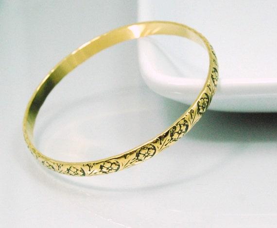 Gold Bangle Bracelet Vintage Flowers