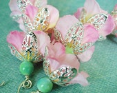 RESERVED FOR SHANIEE Pink Aqua Long Flower Dangle Earrings - Four Tiers