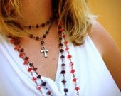 Purple Floral Ankh Rosary Necklace - Black Pearls