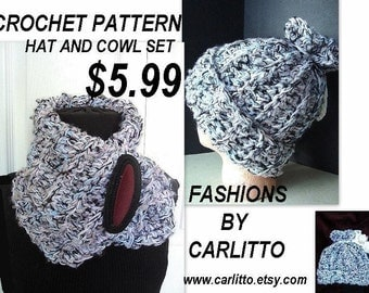 crochet pattern hat Num 93,. COWL AND HAT , shop special ok to sell your finished. instant download