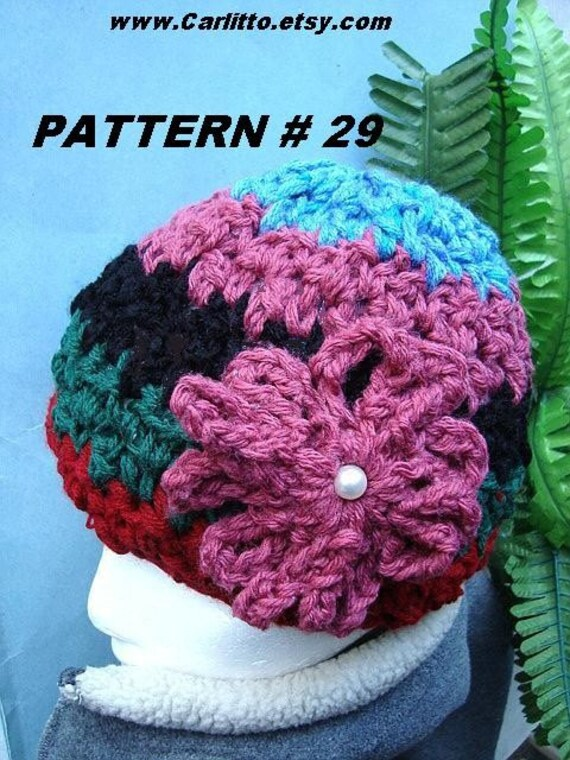 crochet pattern hat COLOR BLOCK HAT companion to by Carlitto