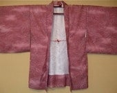 Lovely pink with silver flowers, Japanese antique Kimono coat (Haori)