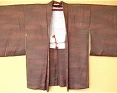 Graceful subtle pinks Japanese antique Kimono coat (Haori) - scattered flowers