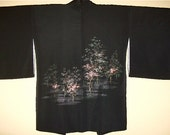 Gold trees & sparkling silver BACK- Japanese antique Kimono coat (Haori)