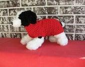 Dog sweater, red dog sweater, medium dog sweater, large dog sweater, crochet dog sweater, classic dog sweater