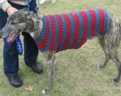 Dog sweater for large dog in cobalt blue and light blue.