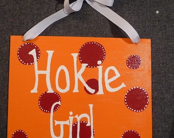 Hand Painted Hokie Girl Sign on Canvas Board