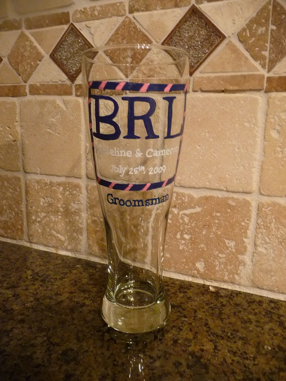 Hand Painted , Personalized Pilsner style Beer Glass for Groomsmen etc