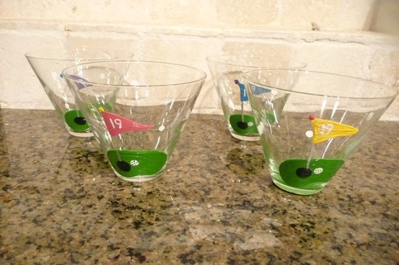 "Set of  4 ""19th hole""  Hand Painted Stemless Martini Glasses for Golfers etc etc"