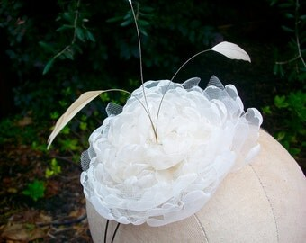 Whimsical Afternoon- headband with handmade Organza flower, and stripped Coque Feathers