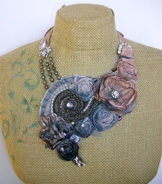Ombré  Effloresce- bib necklace with gradient color, vintage rhinestones and findings, and complimentary earrings