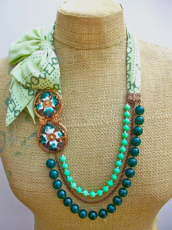 Flight of the Bumblebee- necklace and earring set:  with Vintage Enameled Buckle, Jade, Green Chalk Turquoise, and Vintage Silk Scarf