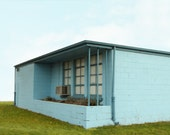 Mid Century Architectural Photograph of Blue Cinder Block Building  8x 12