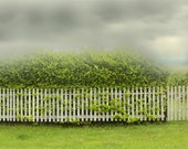 Landscape Photograph of Chartreuse Decor Storm Clouds Summer Storm and Picket Fence 1