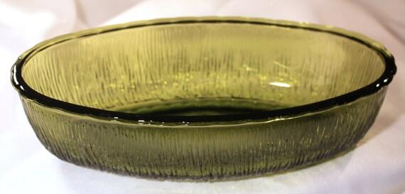 Vintage F.T.D. green glass bowl shallow vase c1975 - decorative retro decor