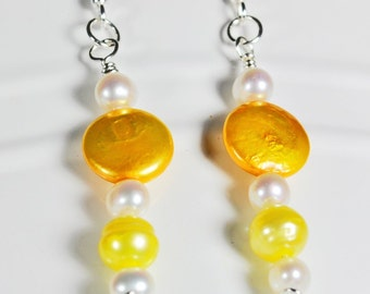 Yellow coin pearls, yellow and white cultured fresh water pearls with sterling silver earrings