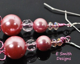 Pink pearls, crystals and pink wire make these earrings lovely