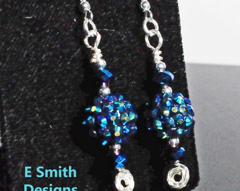 Dangle blue/green fire polished glass and bubble bead sparkley earrings with lots of movement