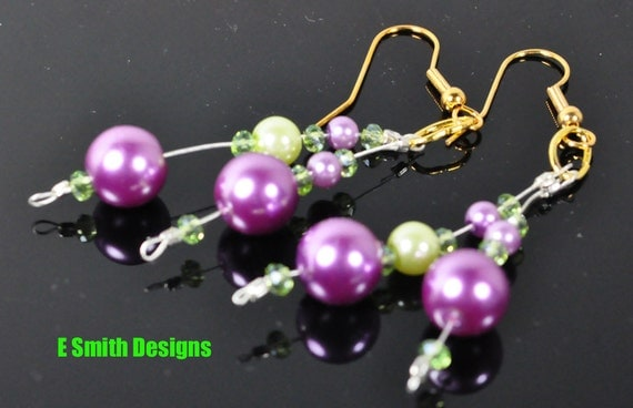 Green and purple faux pearls on silver plated beading wire with green crystal earrings