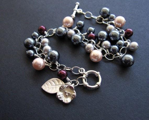Pearl Berry Silver Blossom Bracelet