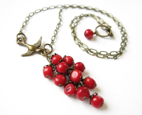 Red Coral Berry Cluster Brass Bird Necklace