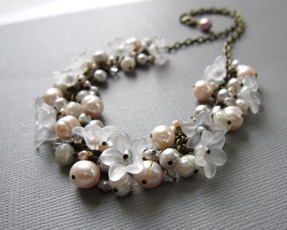 Frost Blossom Pearl Cluster Choker Necklace