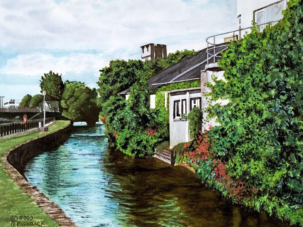Landscape Painting Print Galway City Ireland by DanielFishback