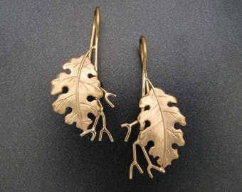 Golden Oak Leaf Earrings