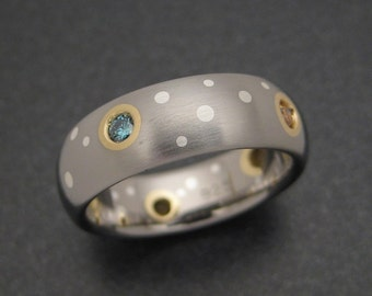 Titanium Wedding Ring with Party-Colored Diamonds