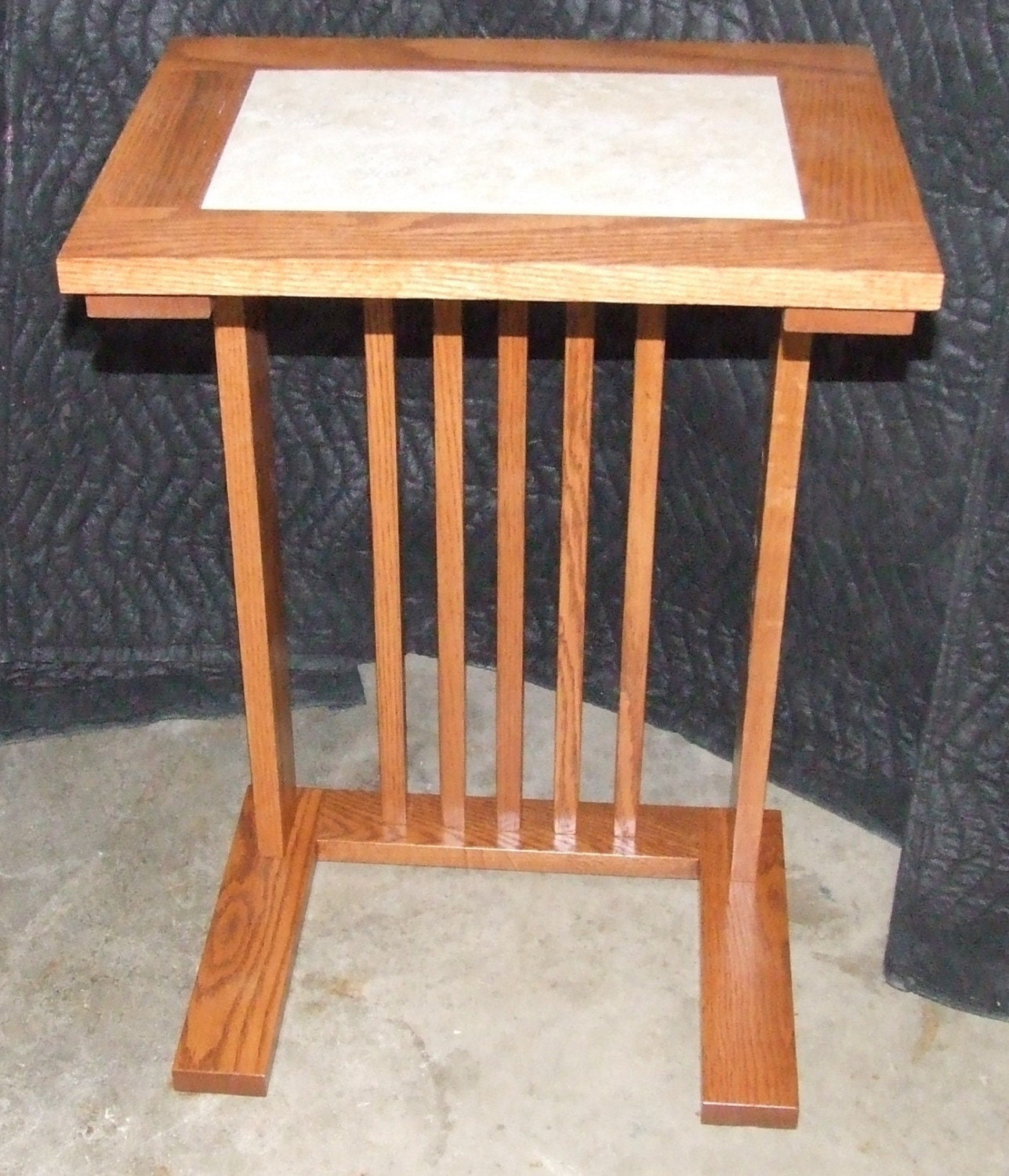 Oak Sofa Server Table Mission Style With Tile By Werclassitoo. Full resolution  img, nominally Width 1287 Height 1500 pixels, img with #9A5931.