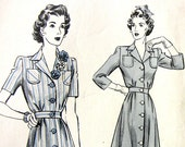 Hollywood Patterns 865 Vintage 40's Day Dress Pattern W/crochet roses Size 16