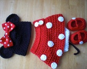 Minnie Mouse hat with Red Bow Diaper Cover and Shoes to Match