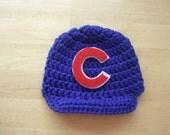 Chicago Cubs Inspired Crocheted  Baseball newsboy hat Newborn Photo Prop