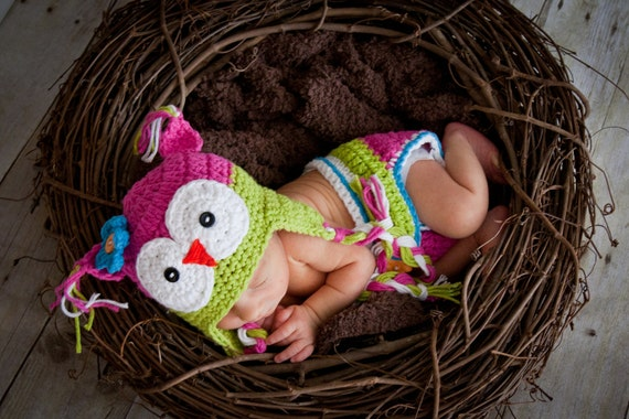 Beautiful OWL hat and diaper cover