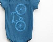 Baby Bike Onesie, bicycle bodysuit, Cute Baby Clothes, Blue Onesie, Etsykids team