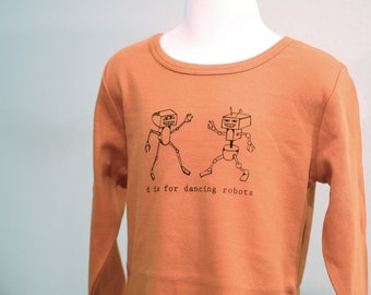 Robots, Robot T Shirt, funny t shirt, Dancing Robots, Long-sleeve shirt, letter D, Orange