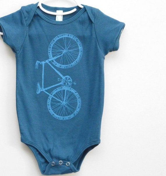 Baby Bike Onesie, bicycle bodysuit, Cute Baby Clothes, Blue Onesie, Etsykids team