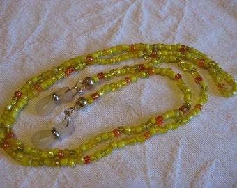 Yellow and orange glass bead eye glass chain
