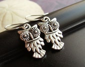 Silver owl earrings, pretty and detailed little owl charms. SALE