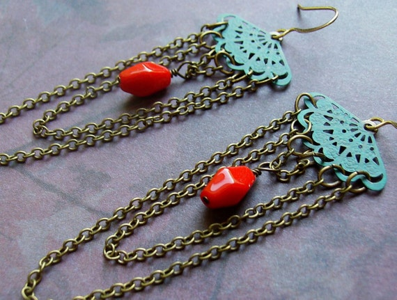 Turquoise earrings, hand painted charms and bright red beads, long chains.  Boho by joanniel creations