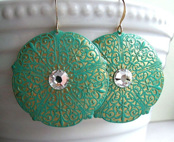 Turquoise earrings, hand antiqued, round textured design, Swarovski crystals, lightweight. Summer Closeout Sale.