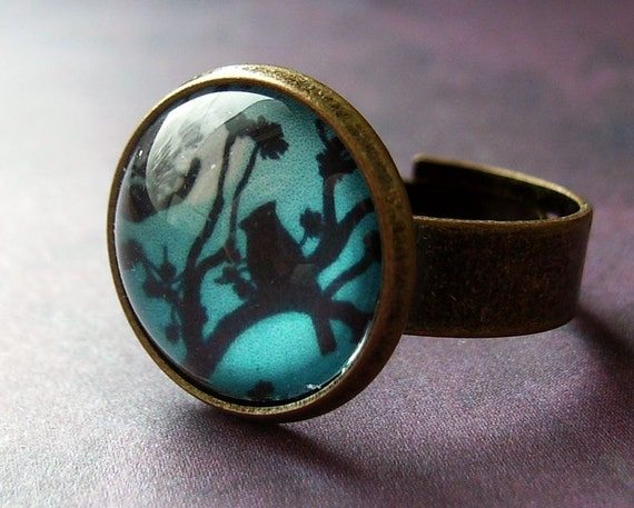 Bird ring, bird in a tree, antique bronze, pastel turquoise aqua hues, adjustable.