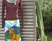 deer mountain dreaming, a vintage, upcycled teatowel, wrap skirt