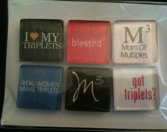 Mom of Triplets Handmade Magnets