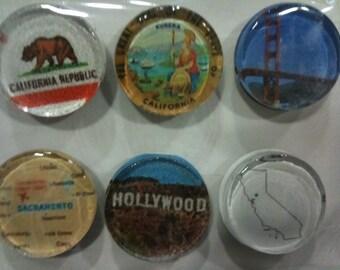 "Handmade ""California"" Magnets (set of 6)"