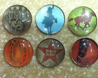 Grunge Cowboy Handmade Magnets (set fo 6)