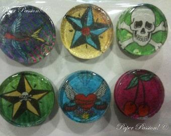 Handmade Tattoo Style Magnets (set of 6)