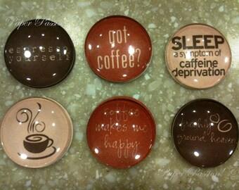 "Handmade ""Coffee Lover"" Magnets (set of 6)"