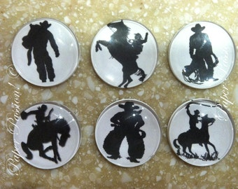 B&W Silhouette Cowboy Handmade Magnets (set of 6)