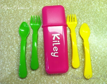 Personalized Childrens Fork and Spoon Set in Holding Case